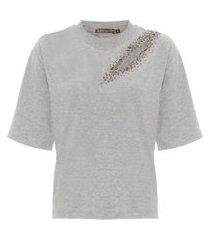 camiseta feminina julia - cinza