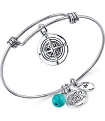 unwritten journey compass charm and manufactured turquoise (8mm) adjustable bangle bracelet in stainless steel with silver plated charms
