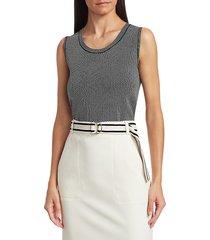 akris punto women's geo knit sleeveless shell top - black cream - size 8