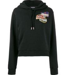 dsquared2 hooded logo sweat shirt - black