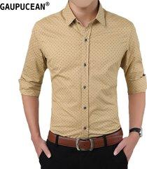 camisas formales manga larga algodón para hombre-caqui