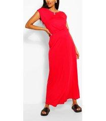 maternity cap sleeve shirred waist maxi dress, red