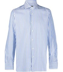 barba vertical stripe-print cotton shirt - blue