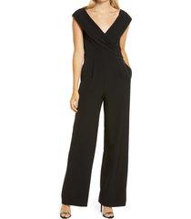 women's vince camuto off the shoulder jumpsuit, size 10 - black