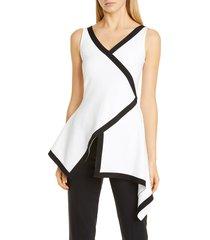 women's rosetta getty bordered asymmetrical top, size x-small - white