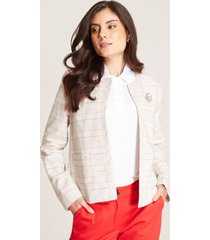 chaqueta tweed cuadros blanco xxl