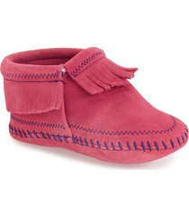 toddler girl's minnetonka 'riley' fringe suede bootie, size 6 m - pink