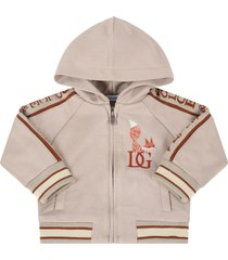 dolce & gabbana beige sweatshirt for babyboy with fox