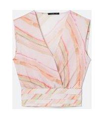 blusa regata com camadas e amarração | cortelle | multicores | g
