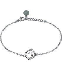 bracciale pianeta con strass in acciaio silver per donna