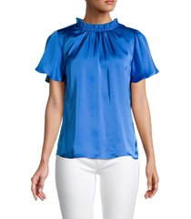 cooper & ella women's mockneck flutter-sleeve top - blue - size l