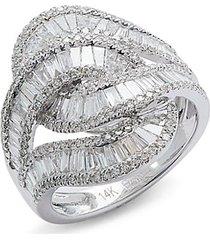 14k white gold & diamond midi ring