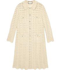 gucci oversized crochet cardigan - white