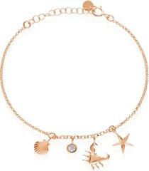 bracciale in argento rosato con ciondoli conchiglia e granchio e zirconi per donna