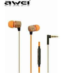 audífonos bluetooth manos llibres, awei 16hi patrón de madera en el oído auriculares estéreo super mega auricular (naranja)