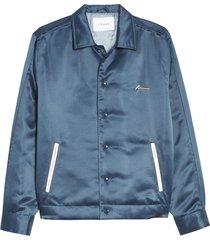 men's frame slim fit satin bomber jacket, size x-large - blue