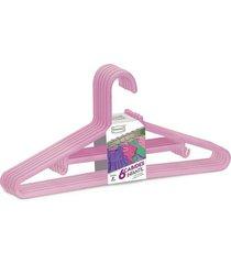 cabide dasplast plástico infantil mix bebê com 6 unidades rosa