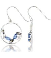 blue topaz open work circle dangle earrings