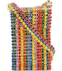 area rainbow crystal crossbody bag - gold
