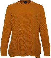 knitted blouse plus long sleeves round neck stickad tröja gul zizzi