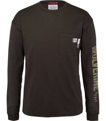 wolverine men's fr long sleeve print tee black, size l
