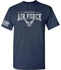 us air force logo w/us flag sleeve american military usaf men's tee shirt 1660