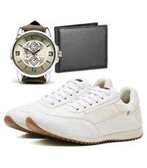 sapatênis casual com carteira e relógio new dubuy 1100la branco