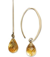 citrine long hoop earrings (8 ct. t.w.) in 14k gold (also available in rhodlite garnet, blue topaz, & amethyst)