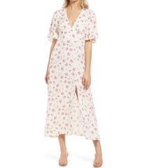 afrm zelda open back midi dress, size small in blanc blush floral at nordstrom