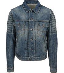 balmain vintage blue jean jacket with embossed balmain paris logo