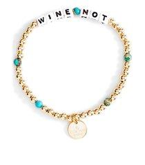 women's little words project wine not beaded stretch bracelet