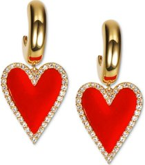 inc international concepts gold-tone pave & velvet heart charm hoop earrings, created for macy's