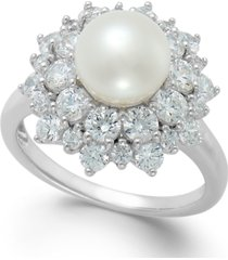 arabella cultured freshwater pearl (8mm) and swarovski zirconia ring in sterling silver