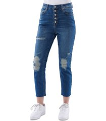 vanilla star juniors' button-front mom jeans