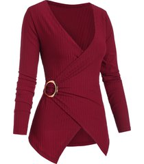 ribbed o ring plunging surplice knitwear