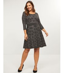 lane bryant women's dotted triangle fit & flare sweater dress 26/28 heather graphite