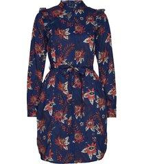 floral allover printed ruffle dress jurk knielengte blauw scotch & soda