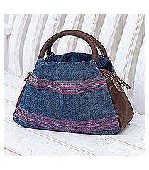 leather-accented cotton handbag, 'hmong trails' (thailand)