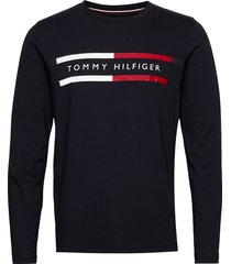 corp chest stripe ls tee t-shirts long-sleeved svart tommy hilfiger