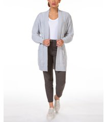 black tape waffle-textured cable-knit open-front cardigan