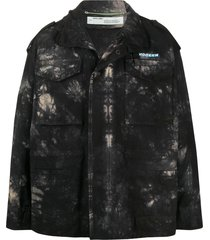 off-white new field tie-dye military jacket - black