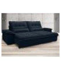 sofá bergamo 2,50m assento retrátil e reclinável velosuede petróleo - netsofas