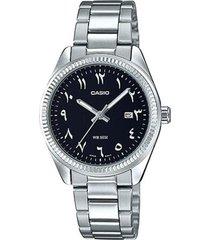 reloj analógico mujer casio ltp-1302d1b3 - plateado con negro