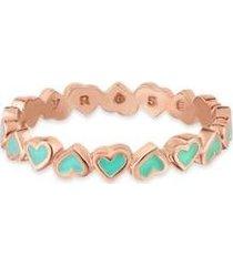 anel life corações esmaltado verde com banho ouro rosé - feminino