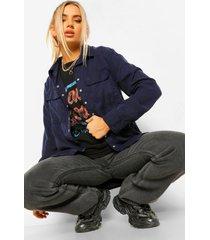 blouse met utility zakken en drukknoopjes, navy