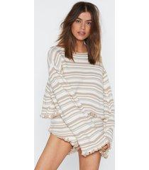 womens striped sweater and ruffled shorts set - oatmeal