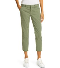 women's nili lotan east hampton stretch cotton twill crop pants, size 12 - green