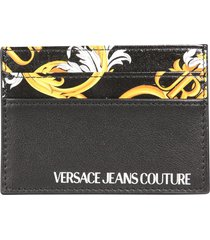 versace jeans couture card holder with baroque print