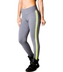 calça adamas fitness cinza com listra verde