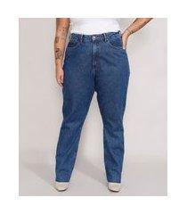 calça jeans feminina plus size mindset reta loose copenhagen cintura super alta azul médio